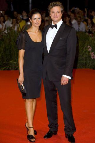 Livia firth samen met haar man Colin Firth tijdens het Venice Film Festival in 2009. Jurk: Orsola de Castro